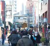 Landmark in district of Asakusa area with people walk around wit Stock Photography