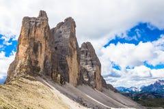 Landmark of Dolomites - Tre Cime di Lavaredo Stock Photography