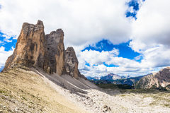 Landmark of Dolomites - Tre Cime di Lavaredo Royalty Free Stock Image