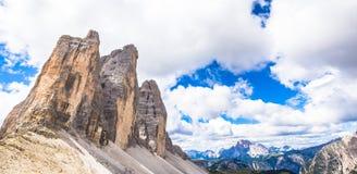 Landmark of Dolomites - Tre Cime di Lavaredo Stock Photo