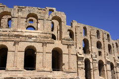 Landmark - El Jem Colosseum, Roman Empire Architecture. El Jem amphitheatre is the largest colosseum in North Africa. This Roman Landmark was built in the 3th Royalty Free Stock Photo