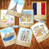 Landmark of France in photo frame Royalty Free Stock Photo