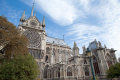 Landmark Gothic cathedral Notre-dame in Paris Royalty Free Stock Image