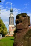 Landmark of Hamburg. St. Michael`s Church in Hamburg Germany in background Royalty Free Stock Photo