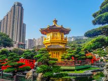 Landmark of Hong Kong - Nan Lian Garden Chinese Classical Garden royalty free stock photo