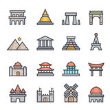 Landmark Icon Bold Stroke with Color Stock Images