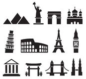 Landmark icons Royalty Free Stock Photos