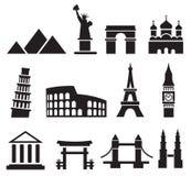 Landmark icons Royalty Free Stock Photos
