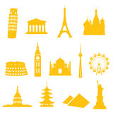Landmark Icons. 13 gradient free landmark icons - easy to change colour Stock Photo