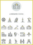 Landmark icons set  Royalty Free Stock Photo