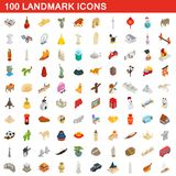 100 landmark icons set, isometric 3d style. 100 landmark icons set in isometric 3d style for any design illustration stock illustration
