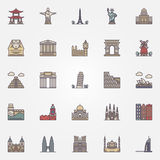 Landmark icons set Stock Photos