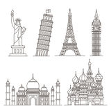 Landmark icons. Statue of Liberty, Tower of Pisa, Eiffel tower Royalty Free Stock Images