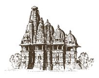 Landmark of Indian architecture, Traditional religious. Hindu Temple. engraved hand drawn in old sketch, vintage style. Mumbai, Bangalore, Ahmedabad Stock Photo