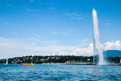The landmark Jet d'Eau of Geneva, Switzerland Royalty Free Stock Photos