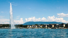 The landmark Jet d'Eau of Geneva, Switzerland Royalty Free Stock Images