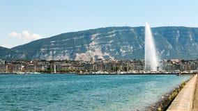 The landmark Jet d'Eau of Geneva, Switzerland Royalty Free Stock Photos