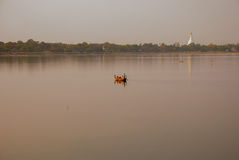 Landmark landscape U bein bridge, Taungthaman lake, Amarapura, mandalay city of Myanmar. Burma Royalty Free Stock Image