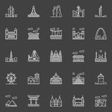 Landmark linear icons Royalty Free Stock Images