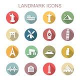 Landmark long shadow icons Stock Photos