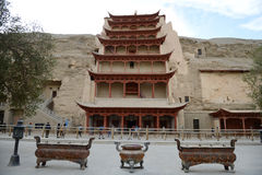 The landmark of mogao grottoes Stock Photos