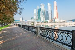 Landmark Moscow City by the river, walk along the embankment. Of the city stock photography