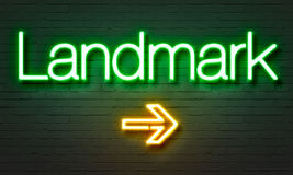 Landmark neon sign on brick wall background. Royalty Free Stock Photos