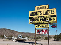 Landmark Nevada Brothel. Sign welcomes visitors to a Nevada Brothel Royalty Free Stock Images