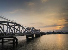Bridge and river at sunset in kampot cambodia Stock Photography