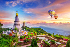 Landmark pagoda in doi Inthanon national park with Balloon at Ch. Iang mai, Thailand royalty free stock images