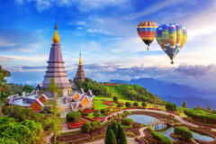 Landmark pagoda in doi Inthanon national park with Balloon at Ch. Iang mai, Thailand stock images