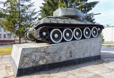 Landmark of Pastavy. Soviet tank T-37-85.  March 20,  2014 year Royalty Free Stock Image