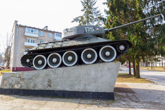 Landmark of Pastavy. Soviet tank T-37-85.  March 20,  2014 year Stock Photo