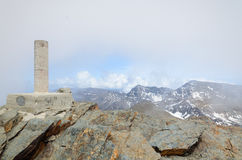 Landmark on the peak Veleta in Sierra Nevada Stock Photo