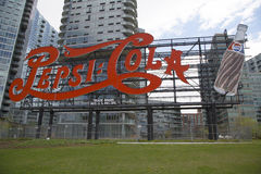 Landmark Pepsi Cola sign in Long Island City. NEW YORK - MAY 6 Landmark Pepsi Cola sign in Long Island City on May 6, 2014 This historic 147 foot sign once on stock photography