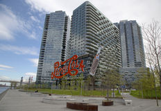Landmark Pepsi Cola sign in Long Island City. NEW YORK - MAY 6 Landmark Pepsi Cola sign in Long Island City on May 6, 2014 This historic 147 foot sign once on royalty free stock image