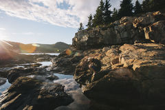 Landmark Photography of Gray Rocks and Green Trees during Sunset Stock Photo