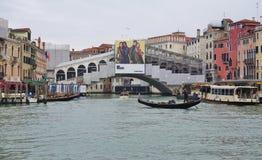The landmark Ponte di Rialto bridge over the Grand Canal in Venice Royalty Free Stock Image