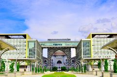 Landmark of Putrajaya Malaysia. The palace of justice building in Putrajaya Malaysia, as seen from a far, throught the gates of an administrative building Stock Photos