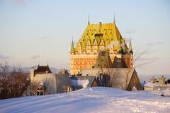 landmark quebec för chateaustadsfrontenac royaltyfria bilder