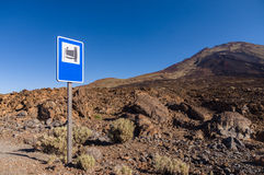 Landmark road sign near Pico Viejo volcano Royalty Free Stock Images