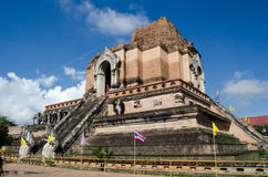 Landmark ruin, Chiang Mai. Huge ruined chedi at the centre of Wat Chedi Luang. Dating from medieval times, it was damaged in an earthquake.  Chiang Mai, Thailand Stock Photos