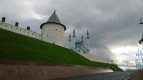 Landmark of Russia: a view of the wall of the Kazan Kremlin and the Kul Sharif mosque Stock Images