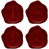 Landmark sealing wax stamp set Royalty Free Stock Photography