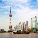 Landmark of shanghai. Shanghai city view, with oriental pearl tower, landmark of Shanghai, beside huangpu riv Stock Photos
