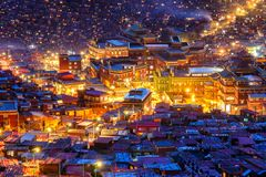 Landmark in Sichuan, Top view night scene at Larung gar Buddhist Academy in Sichuan. China Royalty Free Stock Photography