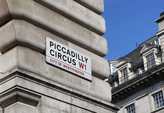 Landmark sign of picadilly circus in london Stock Photos