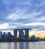 Landmark of Singapore cloudy in sunset Royalty Free Stock Photo