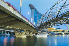 Landmark of Singapore with water reflection during twilight Royalty Free Stock Images