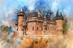 Landmark, Sky, Watercolor Paint, Castle Stock Photo